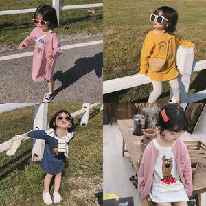 柒号童仓2019春装新款儿童卡通<span class=H>T恤</span>女童中长款裙Tee宽松百搭