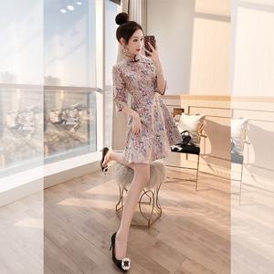 <span class=H>旗袍</span>年轻款少女日常改良新式晚礼服唐装中式<span class=H>女装</span>复古中国风连衣裙