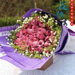 太原鲜花店同城送花11/19/33朵紫玫瑰鲜花生日祝福同城速递太原