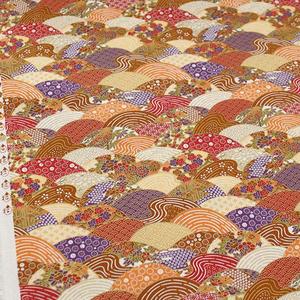 日系和风布料 烫金布料扇形波纹印花 DIY手工居家布艺和服装面料