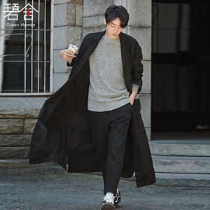 碧舍2017春秋新款男<span class=H>风衣</span>韩版系带宽松休闲 超长款青年大衣外套