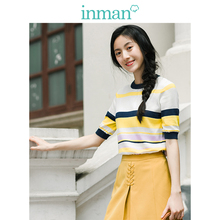 Inman Women's Clothing New Spring and Autumn Colour Stripe Top