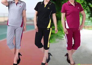 新款夏季全棉短袖七分裤运动套装女中老年妈妈装大码 休闲健身服