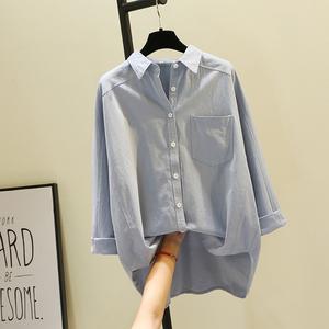 单口袋纯色长袖白色<span class=H>衬衫</span>2019春夏新款韩版文艺蓝色衬衣打底衫上衣