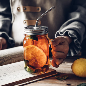 包邮MS大容量玻璃收纳罐瓶餐厅家用早餐<span class=H>水杯</span>牛奶杯带盖吸管<span class=H>手把</span>柄