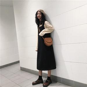 黑色毛呢背带裙女冬季2019新款韩版宽松显瘦呢子中长款背心<span class=H>连衣裙</span>