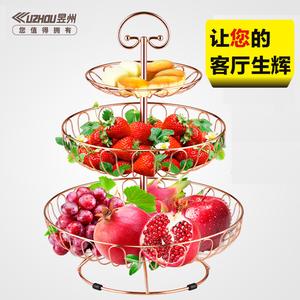 领3元券购买水果盘果篮创意家用多层欧式现代客厅茶几简约零食三层架多功能装