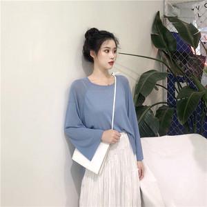 2019韩版圆领纯色针织衫小清新宽松百搭上衣女春秋新款长袖t恤女