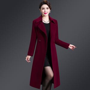 2018冬季中老年<span class=H>女装</span>羊绒大衣女无双面呢中长款妈妈装羊毛呢<span class=H>外套</span>