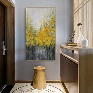 北欧纯手绘<span class=H>油画</span>白桦林风景画欧式客厅装饰画玄关走道竖版挂画定制
