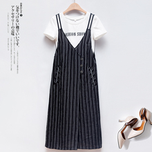 T-shirt striped dress with back strap and two sets of women's new mid-long style fashion dress for the summer of 2019