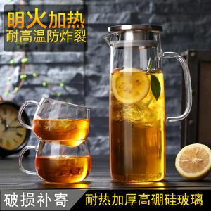 大容量凉水壶玻璃加厚耐高温<span class=H>冷水壶</span>凉水杯子花茶壶果汁壶水具套装