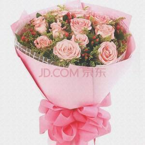 全国送花生日33朵粉红玫瑰<span class=H>花束</span>拉萨鲜花速递同城太原西安北京深圳