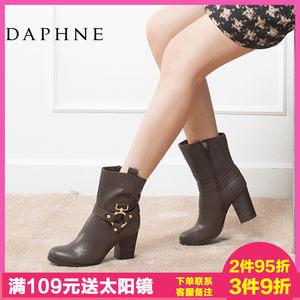 Daphne/<span class=H>达芙妮</span>正品<span class=H>女靴</span> 冬季时尚中跟粗跟高跟带装饰侧拉链女短靴