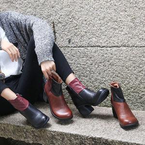欧美风女靴真皮粗跟短筒马丁靴18秋冬新原创牛皮拼接圆头百搭皮靴
