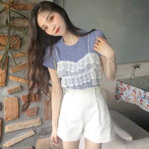 夏季韩版<span class=H>女装</span>新款蕾丝拼接假两件上衣圆领短袖针织针织衫百搭<span class=H>T恤</span>