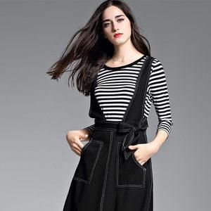 秋季女装2017新款条纹t恤+牛仔棉吊带连衣裙欧美两件套连衣裙