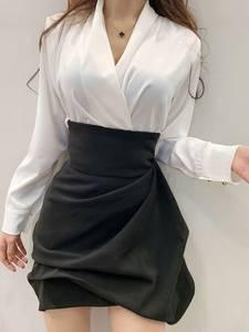 金金小仙女定制A字花苞蓬蓬裙高腰褶皱不规则黑色半身包臀短裤裙