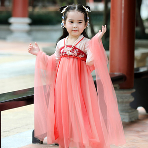 女童汉服春夏襦裙中国风刺绣裙子儿童古装超仙宝宝齐胸汉服女童装