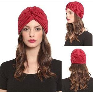 欧美印度头巾帽包头帽<span class=H>护耳帽</span>瑜伽套头帽男女褶皱帽天鹅绒水晶包邮