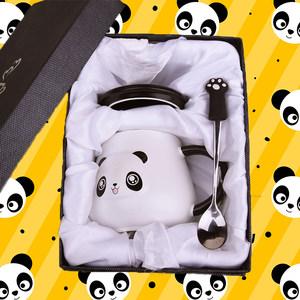 可爱马克杯带盖勺女学生熊猫超萌大容量陶瓷杯韩版早餐情侣水<span class=H>杯子</span>