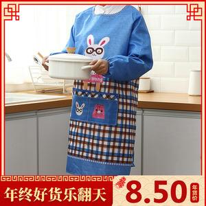 厨房简约做饭长袖<span class=H>围裙</span><span class=H>袖套</span>套装反穿衣成人工作服可爱女士围腰罩衣