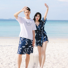Couple swimwear women's new three-piece Korean conservative cover belly slim sexy swimwear men's beach pants suit