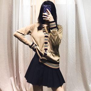 2019新款横条纹边护士<span class=H>毛衣</span>女外套口袋羊毛针织开衫女宽松外套上衣