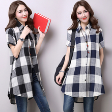 2009 Summer Dress New Korean Large Size Women's Loose Recreational Short Sleeves Medium and Long Chequered Cotton and Hemp Shirt Top