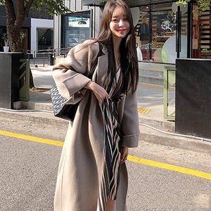 M家韩国官网正品代购秋冬款名媛风优雅单排扣高档羊毛呢大衣外套