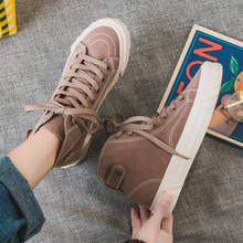 High-top canvas shoes women's single shoes Spring 2019 Korean version of students'Hongkong Wind Sports 100 sets of retro lace-up casual sneakers