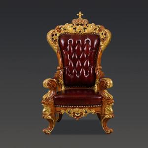 欧式<span class=H>休闲椅</span>实木雕花真皮老板椅法式奢华沙发椅皇室别墅会客靠背椅