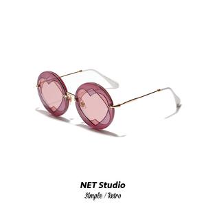 NET Studio / 2018新款圆形爱心欧式大框圆形教堂窗复古太阳镜