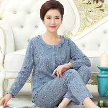 Spring, Autumn and Summer Sleepwear Female Summer Pure Cotton Long Sleeve Middle-aged and Old Mothers'Loose All-cotton Underwear Home Suit