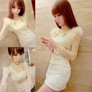2018秋新款韩版女装夜场性感钉珠蕾丝长袖百搭包臀连衣裙两件套装