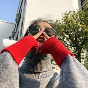 雪羊绒高领宽松毛衣女冬季袖口拼色弹力上衣个性百搭套头打底衫