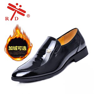 RD新款2018男士<span class=H>皮鞋</span>冬季商务正装黑色漆皮上班工作鞋加绒男棉鞋