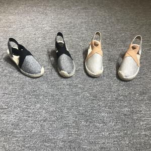 欧洲站女鞋2019春季新款欧货真皮草编底坡跟烫钻复古休闲低帮<span class=H>单鞋</span>