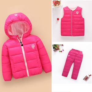冬季儿童羽绒棉服套装婴儿轻薄棉衣新生儿宝宝男女上衣<span class=H>裤</span>子三件套