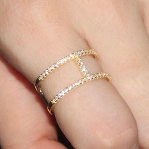 Jams apm欧美s925纯银<span class=H>戒指</span>女士镶晶钻工字指环简约时尚个性配饰品