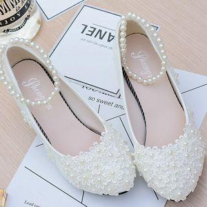 春夏季新品结婚新娘中高跟平底舞蹈鞋蕾丝珍珠绑带白色伴娘鞋单鞋