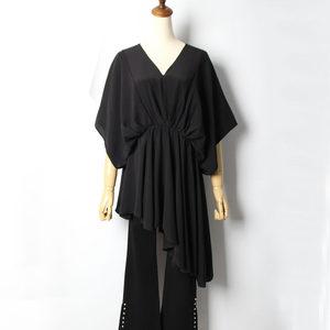 2019春夏新款韩版宽松蝙蝠袖雪纺衫女时尚不规则中长款V领打底衫