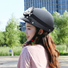 Helmets for Electric Motorcycles, Bamboo Dragonfly Battery Cars, Portable Personality Safety Caps, Halley Half Helmets for Men