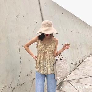 Aimi style夏季新款韩版复古碎花<span class=H>吊带</span>上衣闺蜜同款很仙的连衣裙女