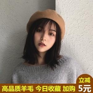 黑色贝雷帽女秋冬韩版日系软妹英伦画家帽女甜美可爱蓓蕾帽百搭