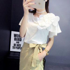 春夏季新款韩版手工立体大花朵T恤荷叶边短袖棉T上衣女装宽松大码
