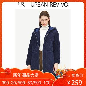 UR2018冬季新品<span class=H>女装</span>潮流格调撞色帽领拉链式大衣WG44R1JN2000