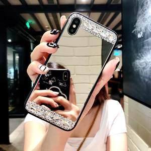 <span class=H>苹果</span>x手机壳水钻镜子玻璃镜面7p潮牌8plus新款iphone6s挂绳韩国女