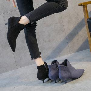 高跟短靴<span class=H>裸靴</span>女秋2018新款小跟短靴女秋冬加绒高跟鞋低跟靴子女鞋