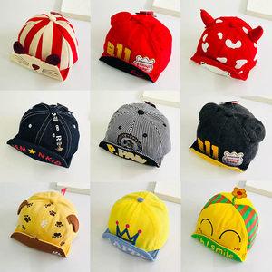 新款宝宝卡通<span class=H>帽子</span>男女童春秋季保暖儿童软檐鸭舌帽婴儿纯棉棒球帽